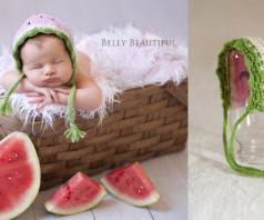 Crochet Watermelon with knit - small