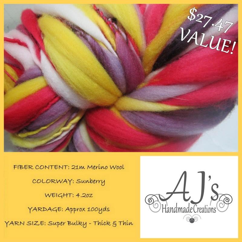"""""""Sunberry"""" Handspun Thick and Thin Merino Yarn"""