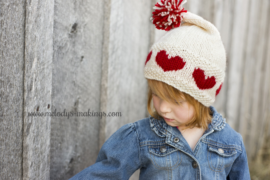 Knit Hat with Hearts on it
