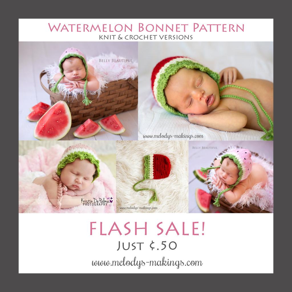 Knit and Crochet Watermelon Bonnet Patterns - Flash Sale!