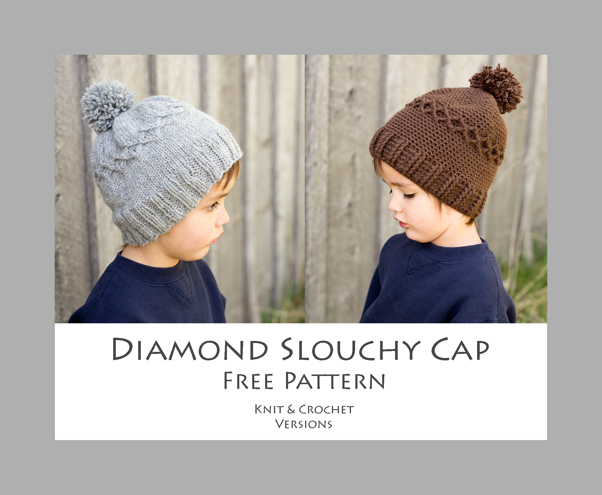 b1f54c3a Diamond Slouchy Cap - Free Pattern - Knit and Crochet Versions