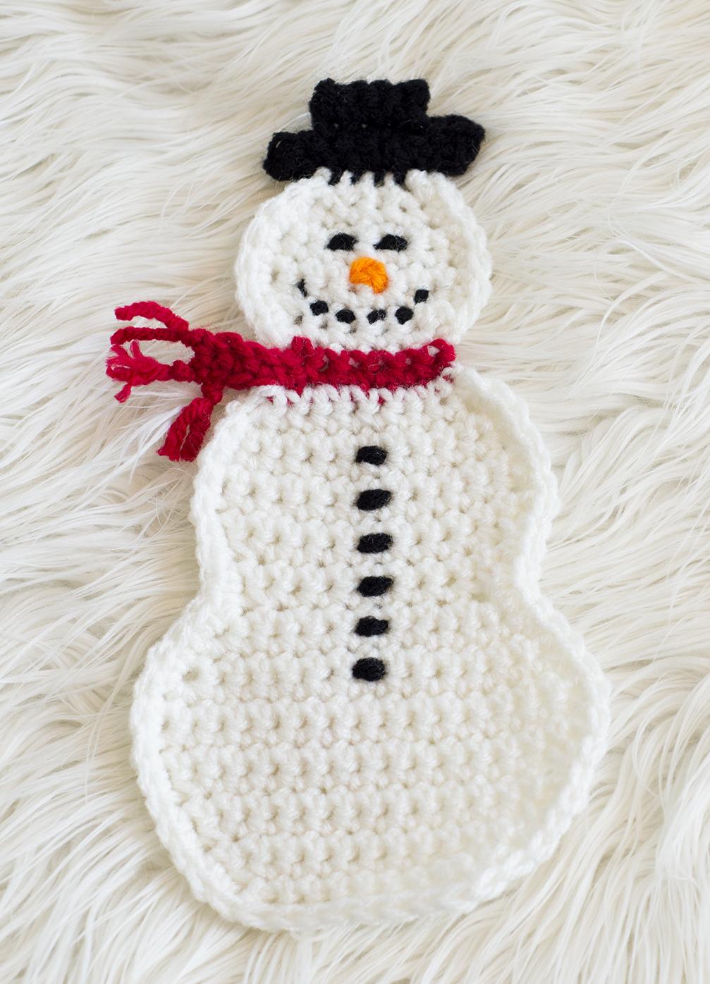 snowman pot holder free pattern knit crochet melody s makings