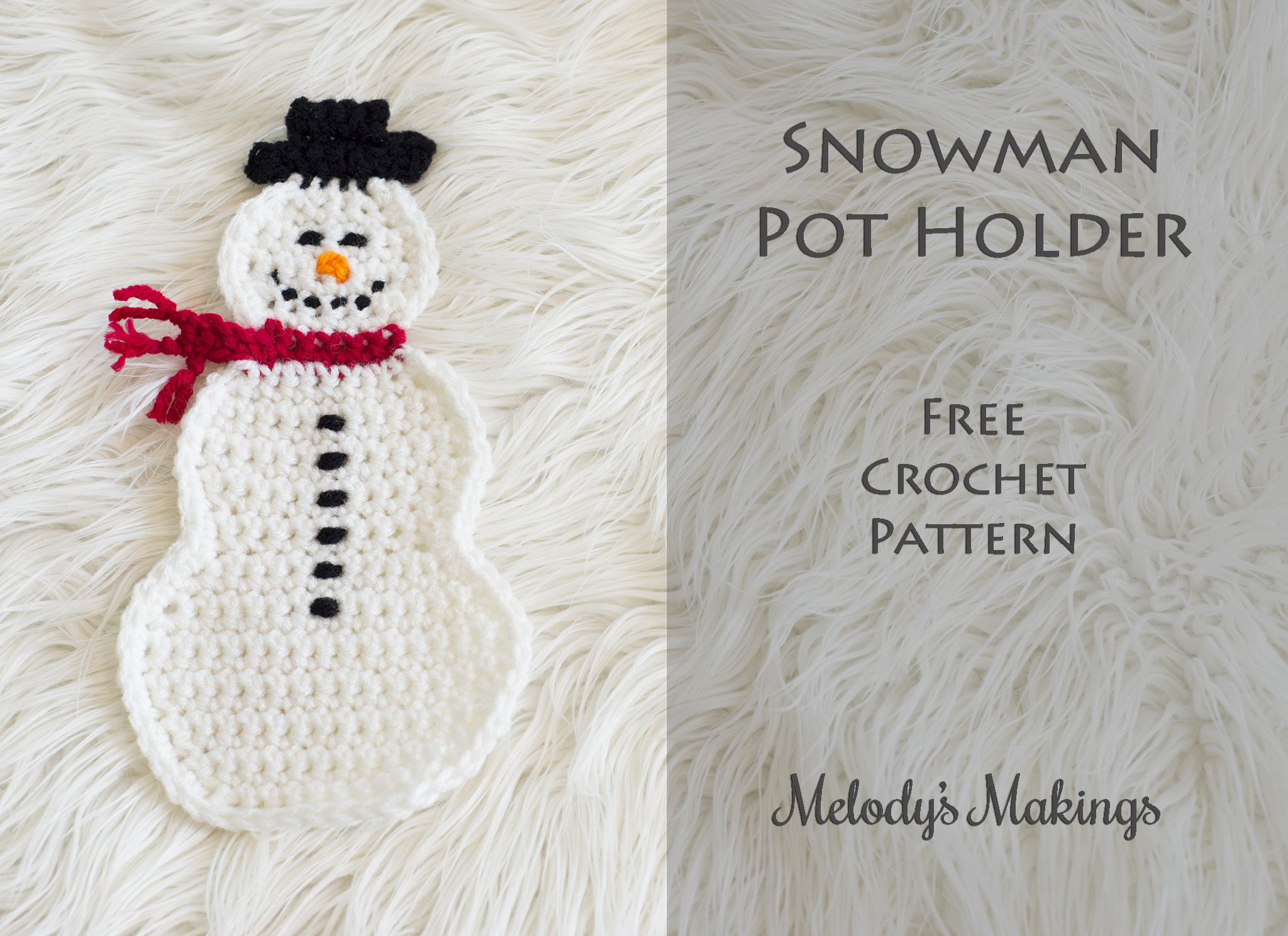Snowman Pot Holder Free Pattern! (Knit & Crochet) | Melody\'s Makings