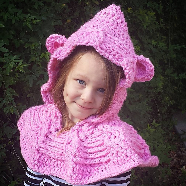 Cabled Bear Hooded Cowl New Pattern In Both Knit Crochet