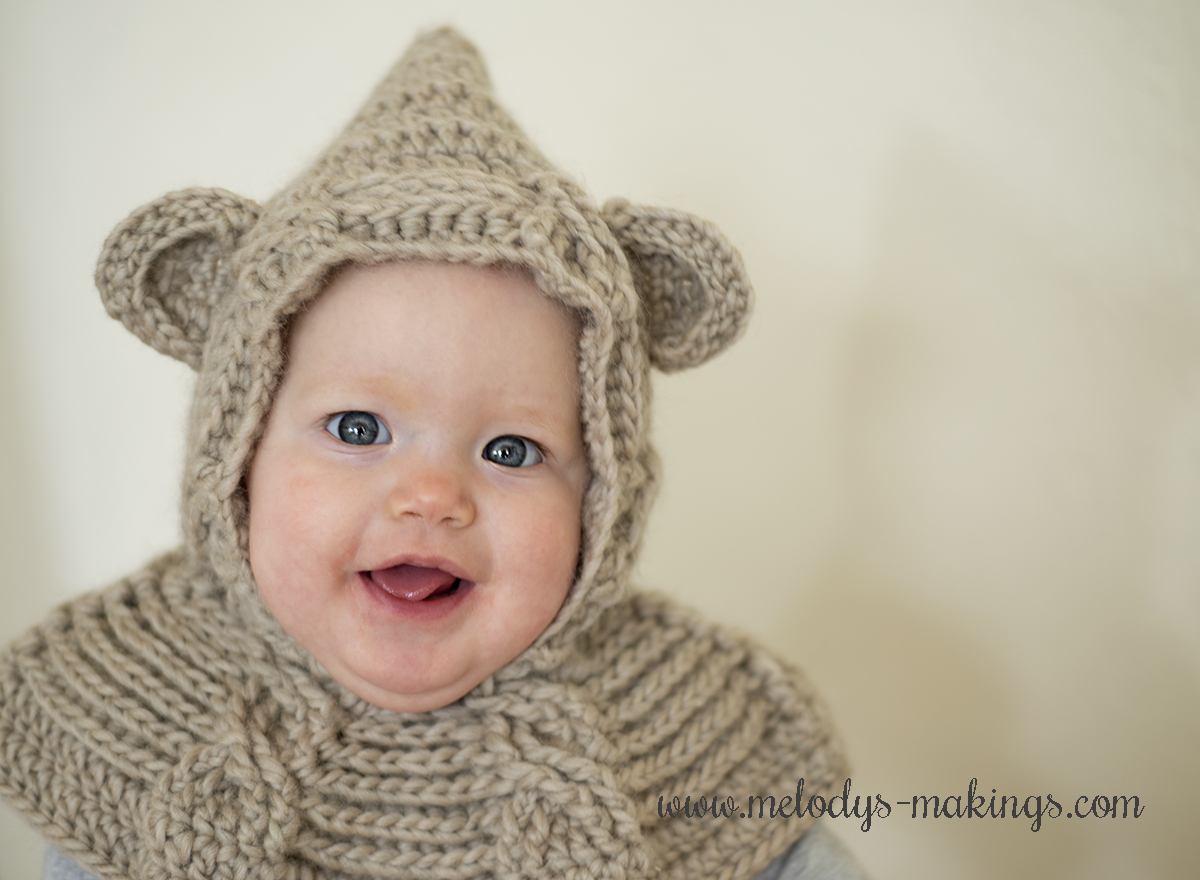 Cabled Bear Hooded Cowl ~ New Pattern in Both Knit & Crochet! Melody