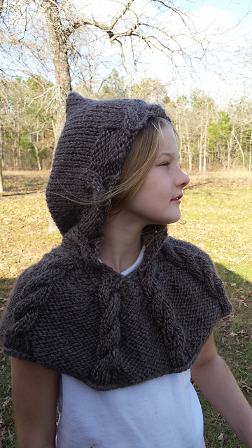 Cabled Bear Hooded Cowl Knit Pattern