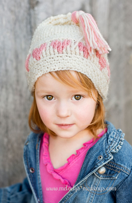 Heart crochet hat