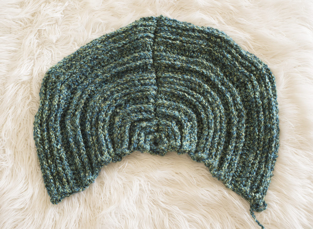 crochet mermaid fin tail being seamed