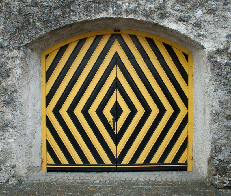 door painted like caution symbol