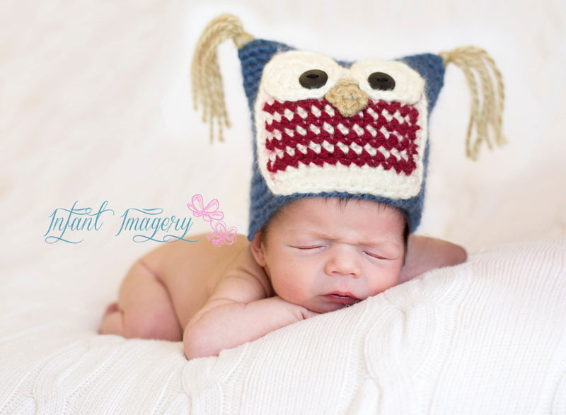 This cute free owl hat crochet pattern comes in sizes Newborn through 1-3 Years and is a quick and cute project.  Makes a great crochet baby shower gift!