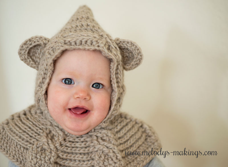 crochet bear hooded cowl