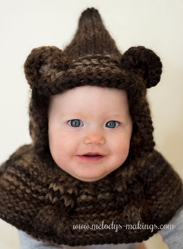 knit baby bear hooded cowl