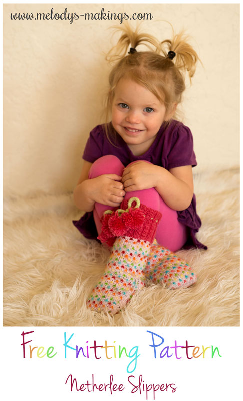 knit slippers on girl
