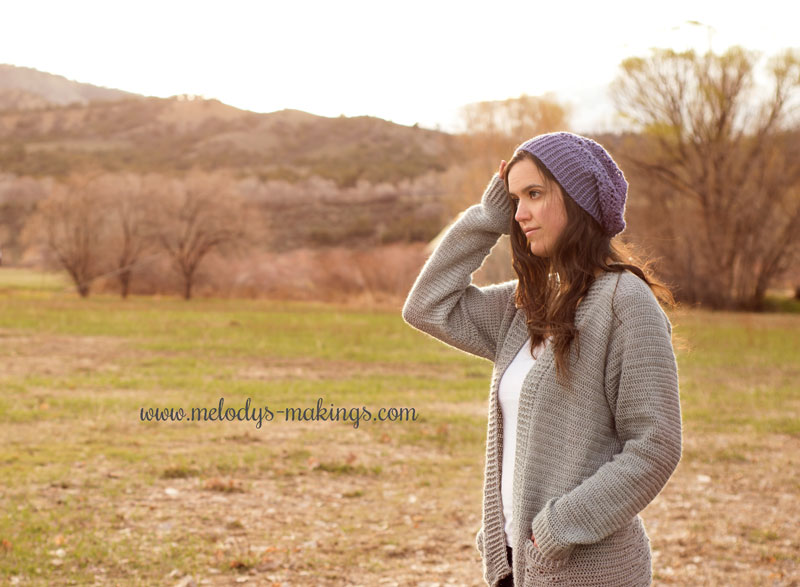 crochet slouch hat and cardigan