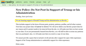 Ravelry Trump Policy